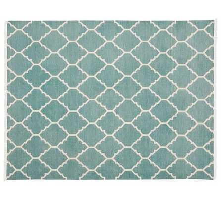 Natalie Dhurrie Rug - Aqua Blue - 8' x 10' - Pottery Barn