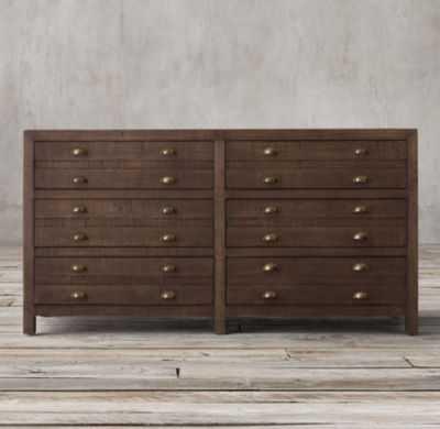 Printmaker's 6-Drawer Dresser-Espresso Pine - RH
