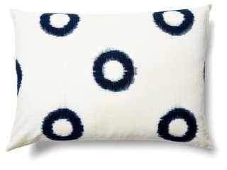 Ikat 14x20 Cotton Pillow, Indigo - Down insert - One Kings Lane