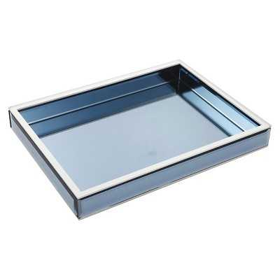 "Wood and Glass Tray - Blue (16""x2""x12"") - Target"