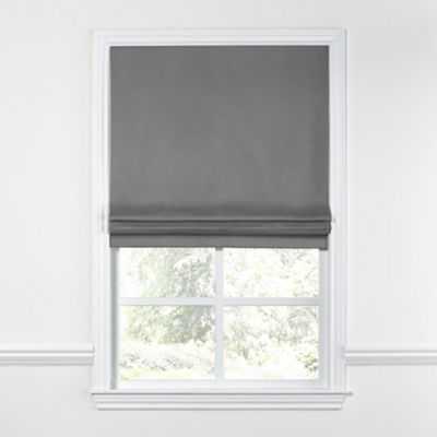FLAT ROMAN SHADE - Linen-A-Like Bright White - 33x64 - Loom Decor