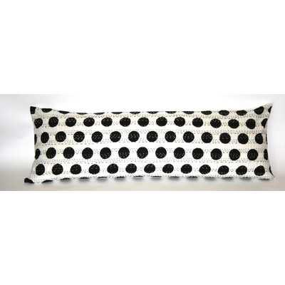 """Kantha Cotton Bolster Pillow-Black-14""""x40""""- Down/Feather Insert - Wayfair"""