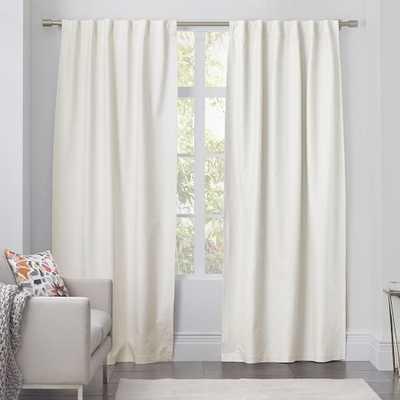 """Linen Cotton Curtain - Ivory - 124"""" - Unlined - West Elm"""