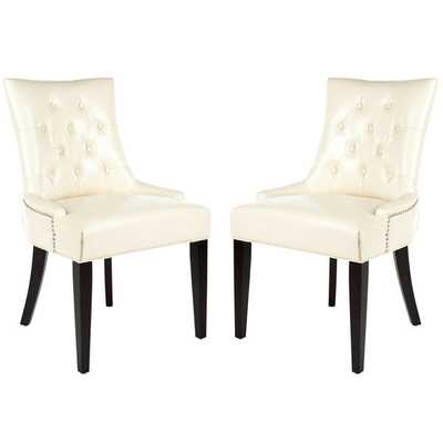 Safavieh Abby Cream Leather Nailhead Side Chairs (Set of 2) - Overstock