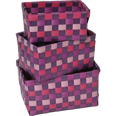 3 Piece Checkered Woven Basket Set - Fuchsia - Wayfair