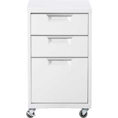 TPS white 3-drawer filing cabinet - CB2