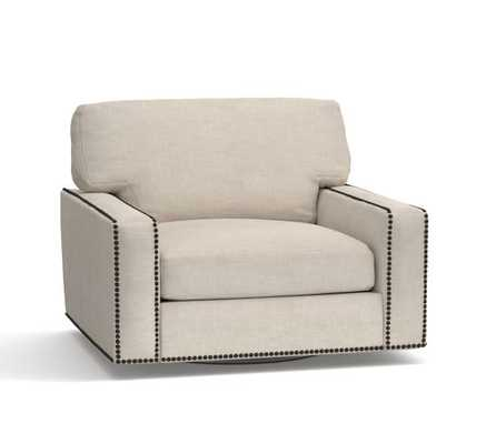 Turner Square Arm Upholstered Swivel Armchair with Nailheads - Textured Twill, Oatmeal - Pottery Barn