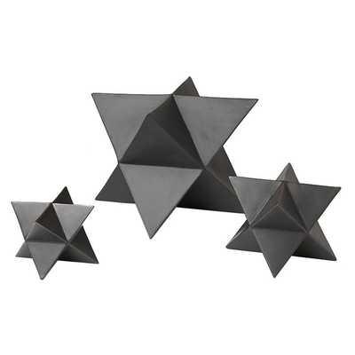 3 PIECE STAR MATTE BLACK DECORATIVE OBJET SET - Dwell Studio