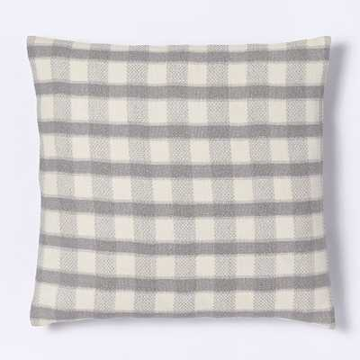 "Hand-Loomed Silk Checker Striped Pillow Cover - Platinum-20""sq-No insert - West Elm"