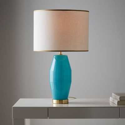 Roar + Rabbit Faceted Glass Table Lamp - Large (Aqua/Gold) - West Elm