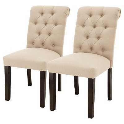 "Sterling Tufted Rolled Back Dining Chair (Set of 2) - Thresholdâ""¢ - natural linen - Target"