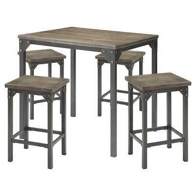 Acme Percie 5 Piece Industrial Counter Height Dining Set - Oak/Black Antique Metal - Target