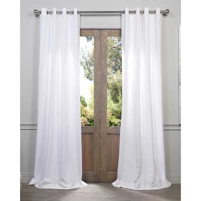 "EFF Heavy Faux Linen Grommet Curtain Panel - White - 96""L - Overstock"