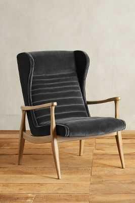Velvet Roadway Chair - Charcoal - Anthropologie