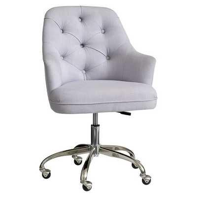 Tufted Desk Chair -Light Grey - Pottery Barn Teen