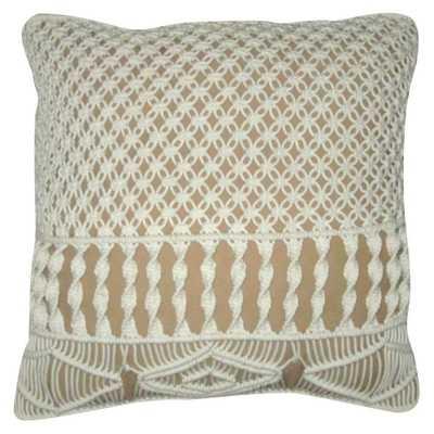 "Crocheted Pillow Beige 18""x18"" - Nate Berkus, Buff Beige- Without insert - Domino"