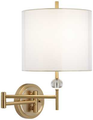 Kohle Brass and Acrylic Ball Swing Arm Wall Lamp - Lamps Plus