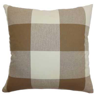 """Kalen Russet Plaid Feature Filled Throw Pillow - 20"""" x 20"""" - Overstock"""
