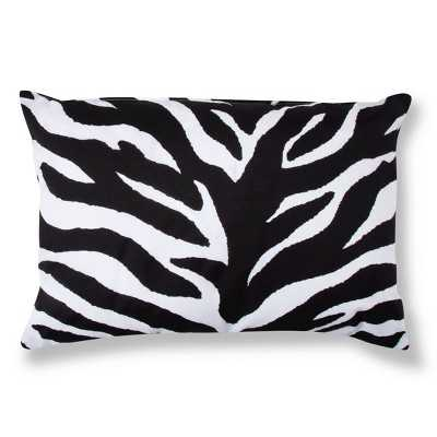Zebra Decorative Pillow - Black/White (Lumbar)- 20.000 L x 14.000 W- Polyester fill insert - Target