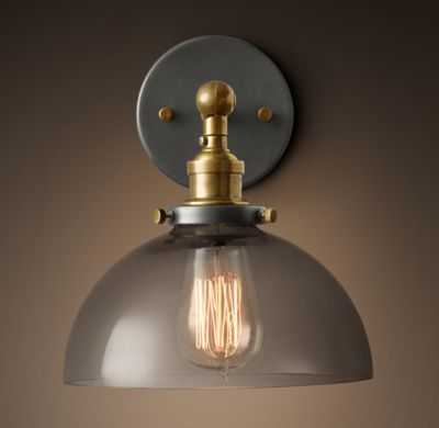 20TH C. FACTORY FILAMENT SMOKE GLASS DOME SCONCE - RH