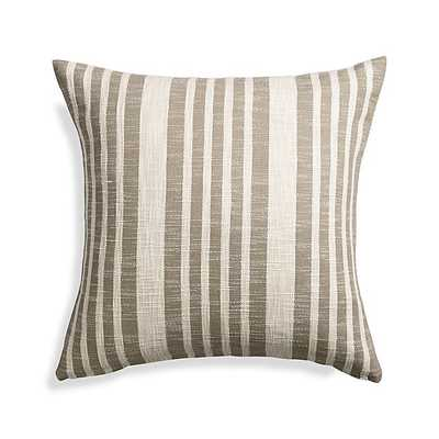 "Celena Grey Stripe 23"" Pillow with Feather-Down Insert - Crate and Barrel"