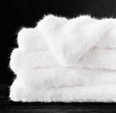 ULTRA FAUX FUR THROW - WHITE - RH