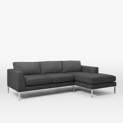 Marco Right Chaise 2-Piece Sectional - Heathered Tweed, Charcoal - West Elm