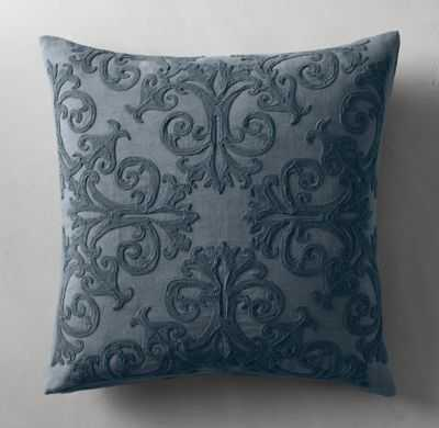 SCROLL SOUTACHE LINEN PILLOW COVER - SQUARE - French Blue - RH
