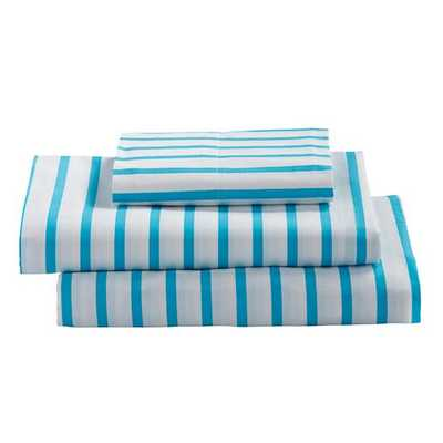 Twin Early Edition Sheet Set (Blue Stripe) - Land of Nod