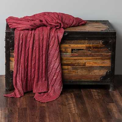 DECORATIVE METALLIC CABLE KNIT THROW - Red/Silver - Home Decorators