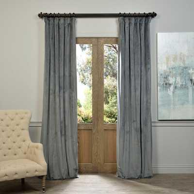 "EFF Natural Grey Velvet Blackout Curtain Panel - 108"" - Overstock"