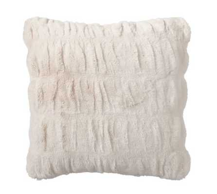 """RUCHED FAUX FUR PILLOW COVER - IVORY 26 X 26"""" no insert - Pottery Barn"""