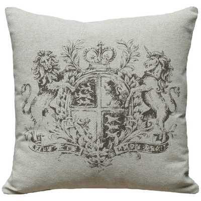 """French Crest Screen Print Linen Throw Pillow - 18"""" H x 18"""" W - Polyfill - Wayfair"""