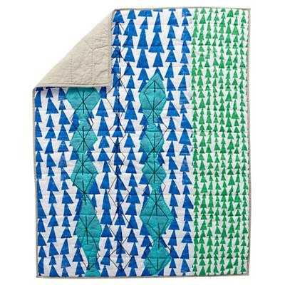 Mod Botanical Blue Baby Quilt - Land of Nod