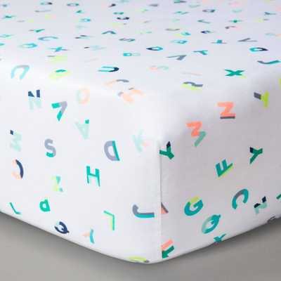Oh Joy! Woven Fitted Crib Sheet - ABC, Multi-Colored - Domino