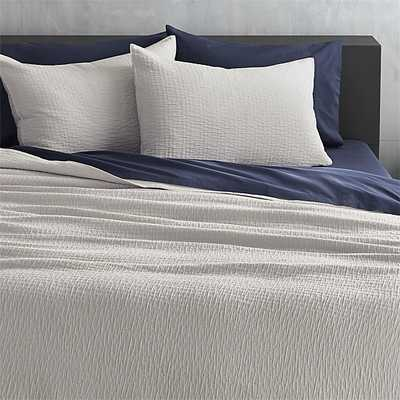 lilo silver-grey king coverlet - CB2