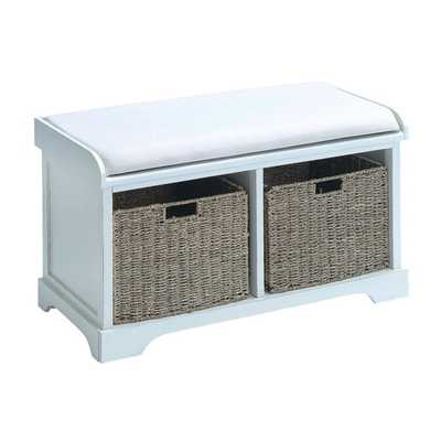 White Wood Basket Bench with Storage Capacity - Overstock