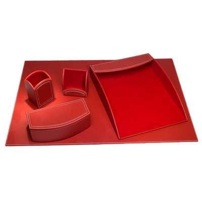 Rossa Red Leatherette 5-piece Desk Set - Overstock
