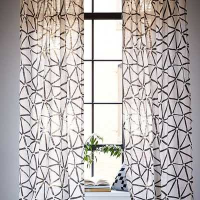 """Linen Cotton Abstract Triangle 96""""l x 48""""w Curtain - Slate - West Elm"""