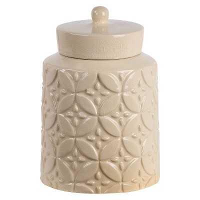 Privilege Decorative Small Ceramic Jar with Lid - Beige - Target