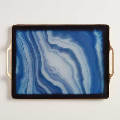Faux Agate Rectangular Tray - Blue - World Market/Cost Plus