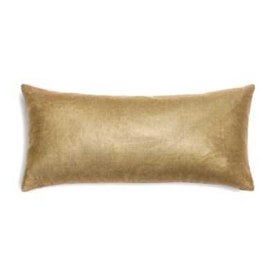 "Metallic Gold Coated Khaki Linen Custom Lumbar Pillow - 12 "" L X 24 "" W- with insert - Domino"