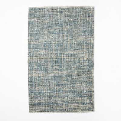 Mid-Century Heathered Basketweave Wool Rug - Midnight - 8' x 10' - West Elm