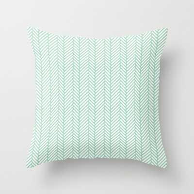 Herringbone Mint 20x20 Pillow with insert - Society6