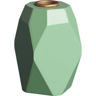 Pomona wood teal candle holder - CB2