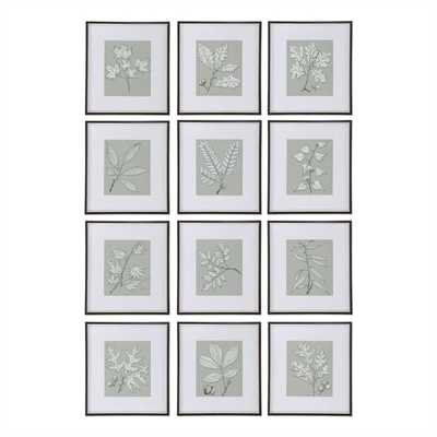 """Leaves On Taupe, S/12-18"""" x 20"""" -Framed ( champagne silver) - Hudsonhill Foundry"""