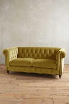 Velvet Lyre Chesterfield Petite Sofa, Hickory - Chartreuse - Anthropologie