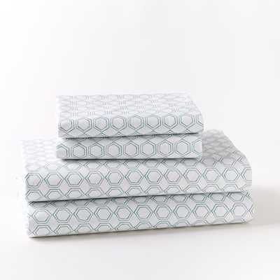 Organic Double Geo Sheet Set - Peacock; king - West Elm