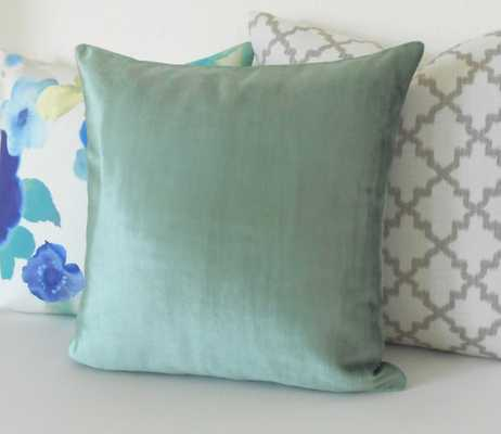 Teal velvet decorative pillow cover - 20x20 - without flange - Etsy