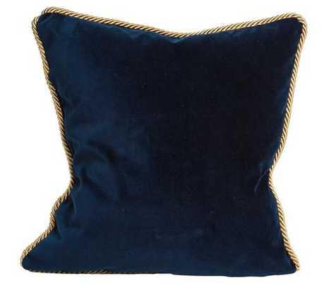 "Colorblock Velvet Pillow Deep Teal & Navy- 18"" x 18"" -With Down Insert - Society Social"